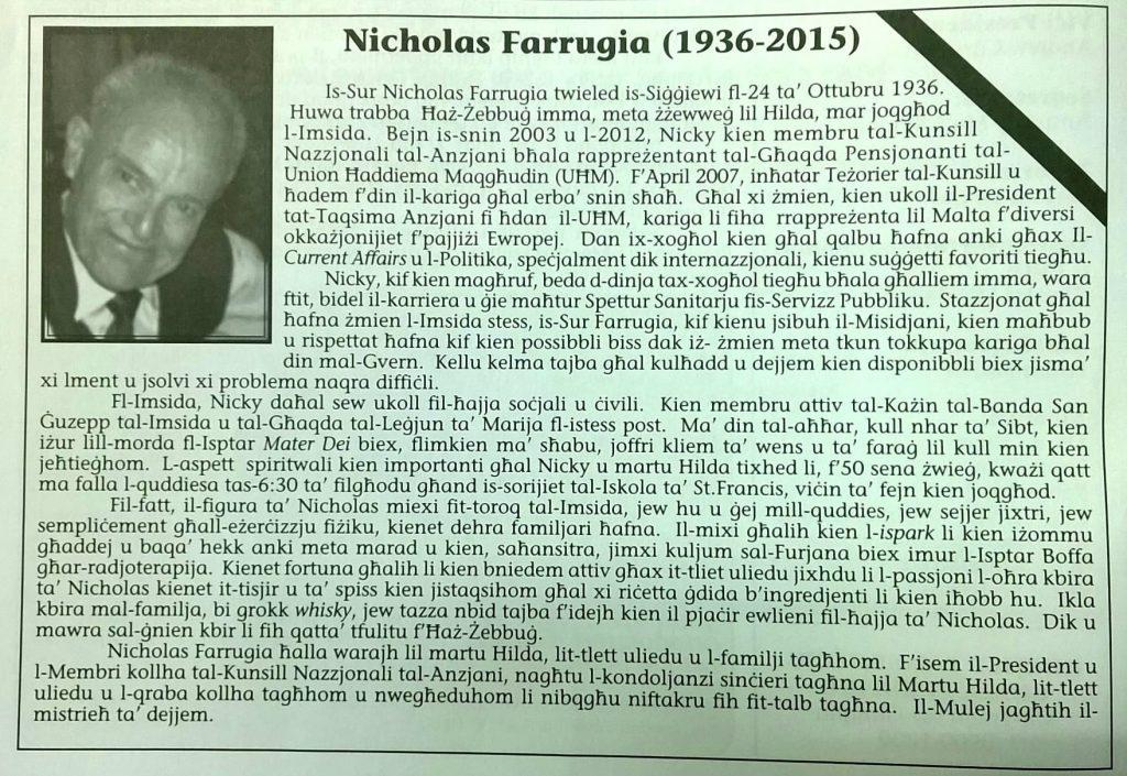 Apprezzament Nicholas Farrugia (1936 - 2015)